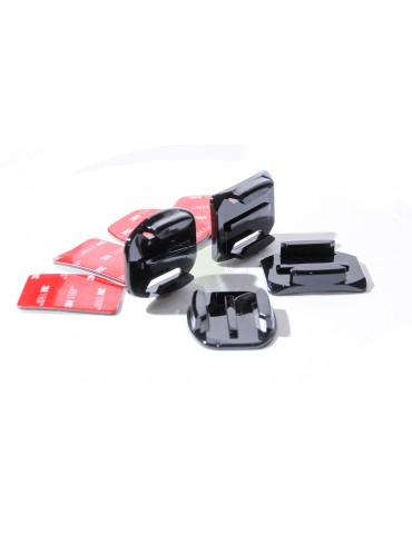2x Flat & 2x Curved Mounts & 3M Pads For GoPro & Action Cameras