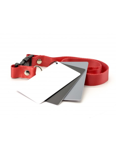 3 in 1 Exposure / Balance 18% Gray Grey / White / Black Card Set & Lanyard